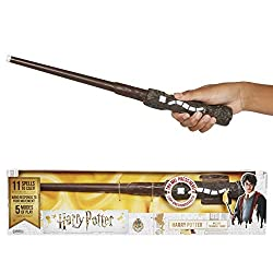 Harry Potter 73195 Harry Potters magischer Zauberstab mit Funktion, 38 cm, braun, Hand/A