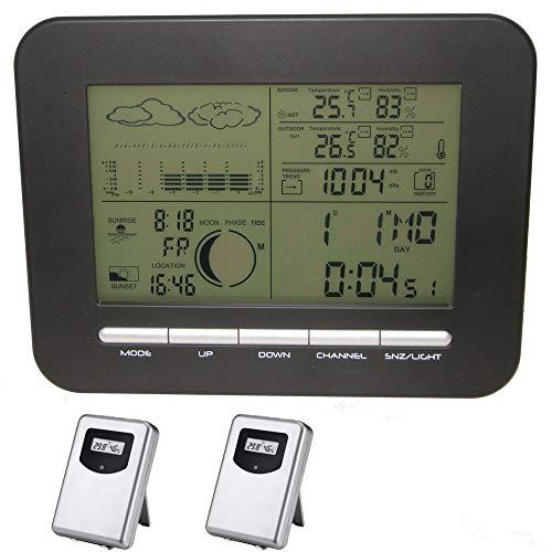 Wolfsay Startseite Wireless Wetterstation Wecker mit Barometer/Thermometer / Hygrometer + 2 Outdoor...