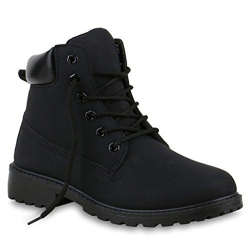 UNISEX Damen Herren Worker Boots Profil Sohle Stiefeletten Outdoor Schuhe Schwarz