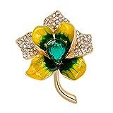 Kongnijiwa Broche de la Flor de la aleación Corazón cariñoso Cristal Decor Mujeres Ropa decorativo Breastpin ramillete Insignia