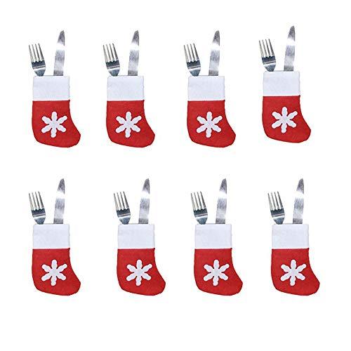 8 Conjunto de UNIDS Juego de Cubiertos de Navidad Juego de Mesa Cubiertos Cubiertos Cuchillos Tenedores Vajilla Bolsas de Calcetín Decoración de la Fiesta de Navidad para el Comedor del Hogar
