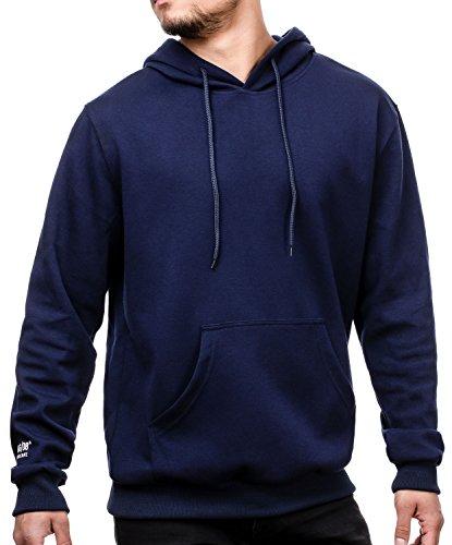 MAG/08 Herren Oversize Kapuzenpullover Hoodie Sweatshirt mit Kapuze und Känguru Tasche (M, Navy) -