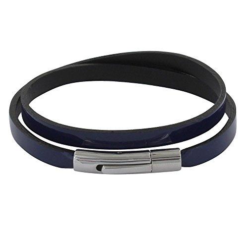 s - Armband Frau Lack Wohnung Leder - Blau Navy ()