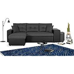 Bestmobilier - California - Canapé d'angle réversible - Convertible avec Coffre et étagère de Rangement - en Simili et Tissu