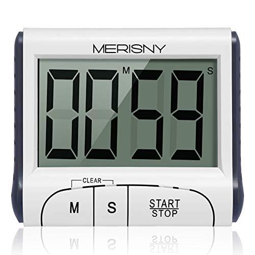 Merisny Digital Küchentimer/Stoppuhr, Kochtimer Wecker mit großem Bildschirm, laut klingendem Alarm, starker magnetischer Rückwand, versenkbarer Ständer, [2 Knopfzellen im Lieferumfang] -