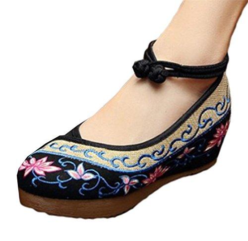 Pacyer® Damen Sommer-Lotus Stickereien Flache Plateauschuhe mit Ankle-Strap Wedges High Top, 1.5-inch Heel (38, Schwarz)