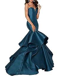 5601ca63ad3 Cloverbridal 2018 Trägerlose Prom Kleider für Damen Partykleider Satin  Meerjungfrau Formale Abendkleid
