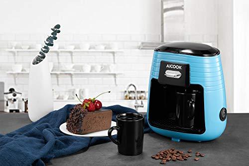 Aicook Cafetera de Goteo, Cafetera Electrica de un Solo Botón, Mini Cafetera Portátil con Diseño Compacto, Cafetera de Filtro con Tecnologia de Preparación Rápida, Equipado con 2 Tazas de Cerámica, Azul