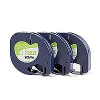 yenlok 3 X Ruban Cassette Dymo LetraTag Cartouche 91200 S0721510 Papier Blanc 12 mm par 4 m Pour LetraTag LT-100H LT-100T LT-110T QX 50 XR XM 2000 Plus