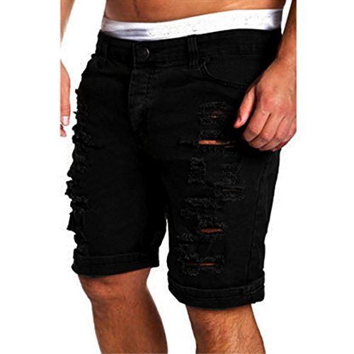 OverDose Herren Casual Jeans Zerstörte Knie Länge Mittlere Hose Hole Ripped Pants (S, Schwarz) (Denim-knie-shorts)