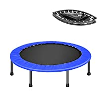 DlandHome Trampoline Indoor Exercise Fitness Mini Trampoline for Kids Adults Foldable Rebounder Trampoline with Safety Pad for Home Office Blue & Black