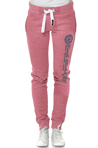 M.Conte Jogginghose Damen Lang Sporthose Short Kurze Blaue Pink Grau Melange Rot Schwarz S M L XL Ramona Dark-Pink L