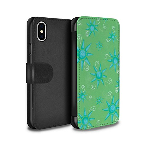 Stuff4 Coque/Etui/Housse Cuir PU Case/Cover pour Apple iPhone X/10 / Bleu/Violet Design / Motif Soleil Collection Vert/Bleu