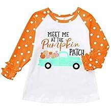 Camisa de manga larga con volantes para niños y niñas, para Halloween, manga larga, estampada