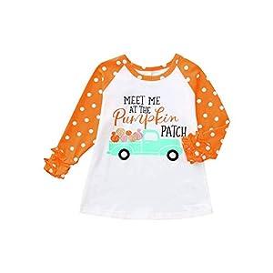 Proumy ◕ˇ∀ˇ◕ Kleinkind Baby Mädchen Bluse Halloween Langarm gedruckt Rüschen T-Shirt Tops Kleidung Outfits
