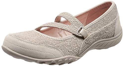 Skechers Breathe-Easy-Pretty Swagger, Mary Janes Femme, Beige (Natural), 38 EU
