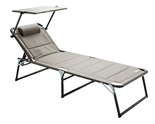 Meerweh Aluminium Gartenliege XXL mit Dach Dreibeinliege gepolstert mit Quick Dry Foam Sonnenliege, Grau, 200 x 70 x 37,5 cm