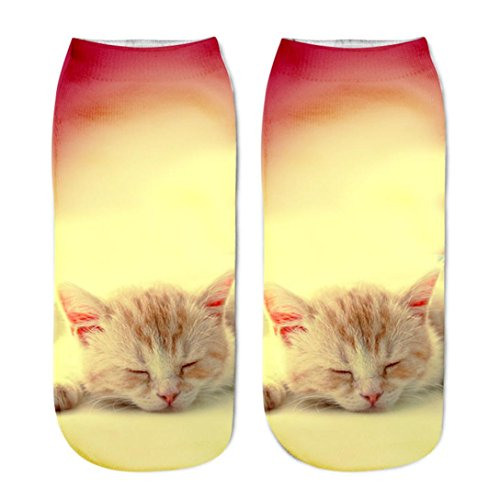 Hansee Beliebte lustige Unisex kurze Socken 3D Katze gedruckt Fußkettchen Socken Casual Socken (A) (Herren Zehe-boot Spitzen)