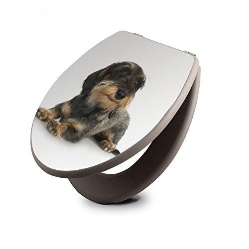 banjado Design Toilettensitz in Taupe | WC-Sitz Holz MDF 42,3x3,5x37,5cm | Klodeckel mit Edelstahl Scharnieren | Toilettendeckel mit Motiv Dackel