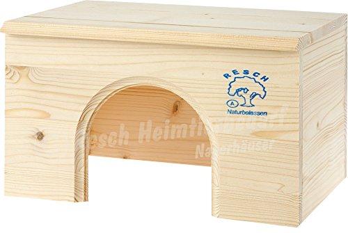 Resch Nr12 Meerschweinchenhaus flach naturbelassenes Massivholz aus Fichte / breiter Eingang und großer Dachliegefläche (Misc.)