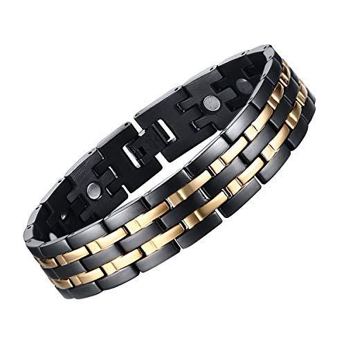 JFUME Herren Magnet Armband aus Edelstahl Männer mit Link Remove Tool Schwarz und Gold 21.5cm (Armband Mit Magneten)