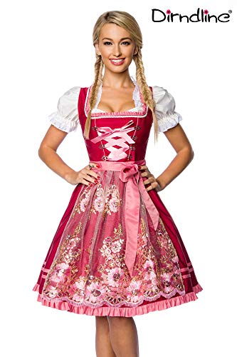Luxus Designer Dirndl mit Schürze Kleid Dirndkleid Oktoberfest Tracht Trachtenkleid Tüll Tüllschürze Pailletten Rüschen Borte Rosa Rot XS - 3XL, Rosa/Rot, XL