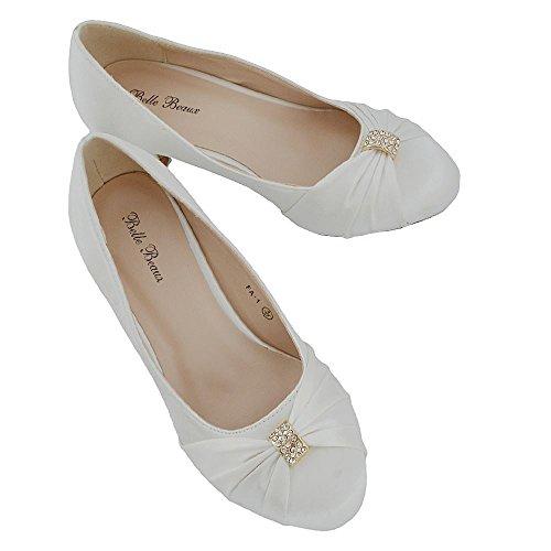 Essex Damen Schuh Satin Hochzeit Niedrige Diamant Elfenbein Glam Braut Ferse AA5rqOU
