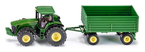 SIKU 1953, John Deere Traktor mit Anhänger, 1:50, Metall/Kunststoff, Grün, Kombinierbar mit SIKU Modellen im gleichen Maßstab