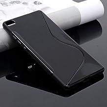 Funda carcasa para HUAWEI P8 LITE GEL TPU Diseño S-Line Color NEGRO