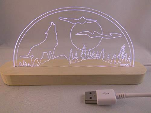 LED Bogen Schwibbogen Leuchterbogen heulender Wolf Vollmond USB Motivlampe Motivleuchte