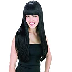WADEO Peluca Negra Larga Pelucas Mujer Pelo Natural Lisa Popular Casi Igual que el Pelo Real, el Longitud del 60cm