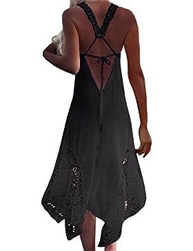 StyleDome Donna Vestito Pizzo Lungo senza Maniche Casual Elegante Cocktail Moda Dress