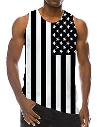 Chaleco de Verano de los Hombres Mercerized Camiseta sin Mangas de Algodón Ink Sweat Impreso Chaleco de Sudor de Gran Tamaño… LAkOt