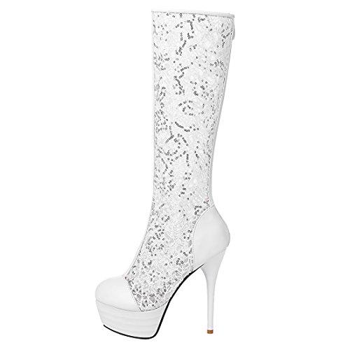 YE Sommer Stiefel Damen Kniehohe Sandalen High Heels Plateau Stieletto mit Reißverschluss und Spitze Pailletten Elegant Schuhe