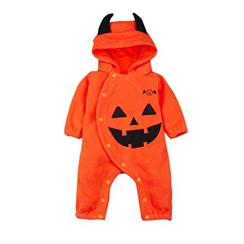 Fuibo Baby Halloween Kleidung, Kleinkind Infant Baby Mädchen & Jungen mit Kapuze Strampler Overall Halloween Outfits Kleidung (12-18M(90), Orange)
