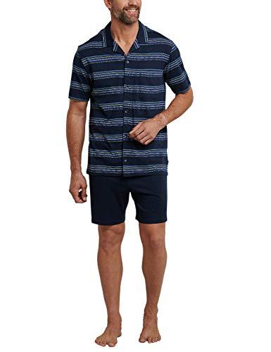 Schiesser Herren Pyjama Kurz Zweiteiliger Schlafanzug, Blau (Dunkelblau 803), XXX-Large (Herstellergröße: 058)