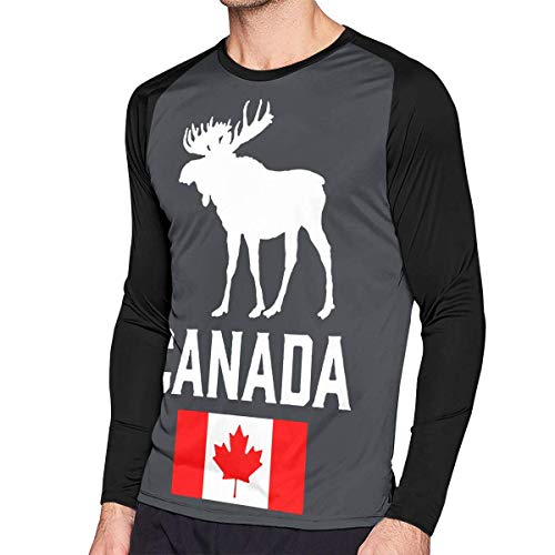 Herren Langarm Classic T-Shirt, Men's Casual Canadian Moose Long Reglan Jersey T Shirts -