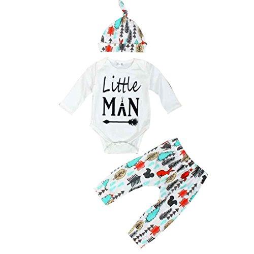 Culater® Bambino appena nato manica lunga stampata Top Pantaloni Cappello Outfits Set (90)