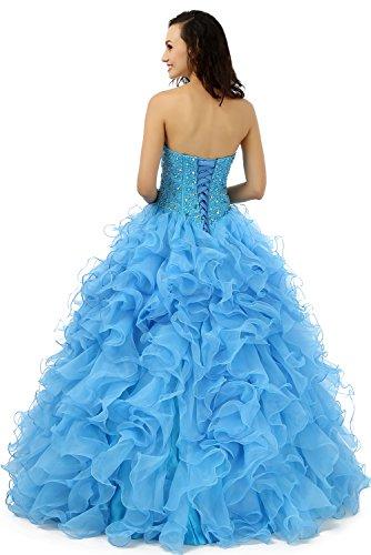 Beauty-Emily Schatz-Ball Riemen Ohne Arme Layered Brautkleider Blau