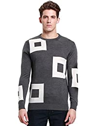 SSLR Men's Casual Color Block Wool Sweaters Jumpers