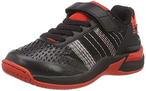 Kempa Unisex-Kinder Attack Contender JUNIOR EBBE & Flut Handballschuhe, Schwarz/Lighthouse Rot 04, 33 EU - Kinder-volleyball-schuhe