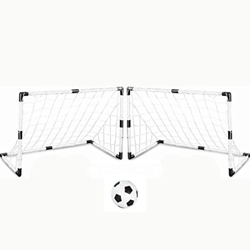 Kinder Fussballtor, Lommer 2er Garten Fußballtor Football Tor Set mit Ball und Pumpe Drinnen/Draußen Spielzeug-Set für Kinder, 92*61*48cm