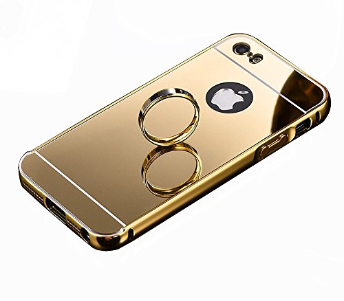 SDO™ Metal Bumper Frame Case with Acrylic Mirror Back Cover Case for Apple iPhone 5S (Gold)  available at amazon for Rs.325
