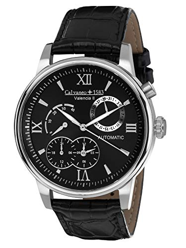 Calvaneo 1583 Men's Watch Valencia II Automatic Steel Black Dial Analogue Display and Black Leather 107934