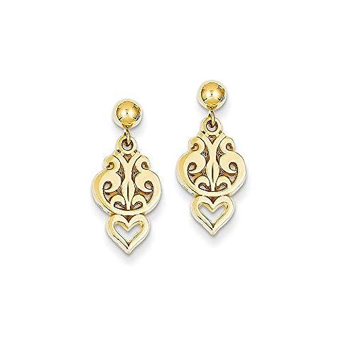 Yellow-gold 14k Polished Fancy Dangle Post Earrings