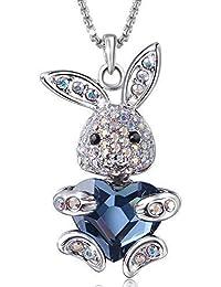 Collier Femmes Bijoux Fantaisie Pendentif en Forme Petite Lapin mignon Coeur Cristal Autrichien Bleu Foncé chaîne 50+6cm plaqué or blanc cadeau fête des mères