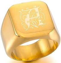 MeMeDIY Oro Dorado Acero Inoxidable Anillo Ring Sello - Grabado personalizado