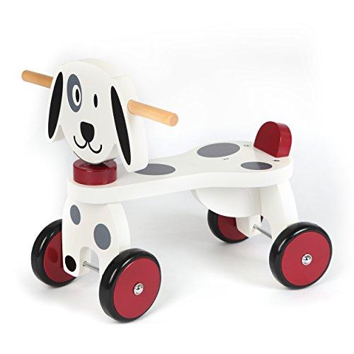 *Pink Papaya Rutsch-Fahrzeug Hund – BEN – Rutscher, hochwertiges Laufrad aus Holz, Kleinkind Sitz-Roller mit 4 Rädern, Rutschauto ab 1 Jahr*