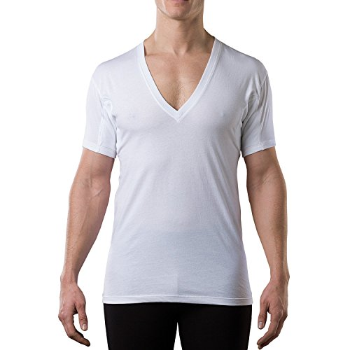 Thompson Tee - Anti-Schweiß Kurzarm-Unterhemd mit Achselschweiß-Polstern - Normale Passform - Tiefer V-Ausschnitt - Weiß - Large (Beständig Unterhemd)