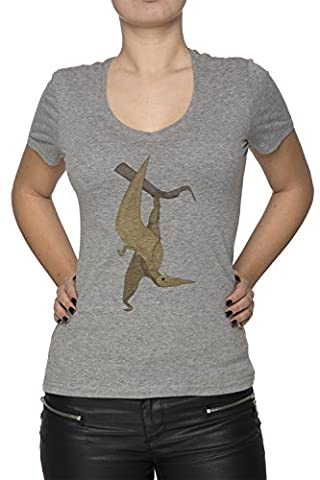 Dinosaures Oiseau Femme T-Shirt V-Col Gris Manches Courtes Taille L Women's V-Neck Grey Large Size L
